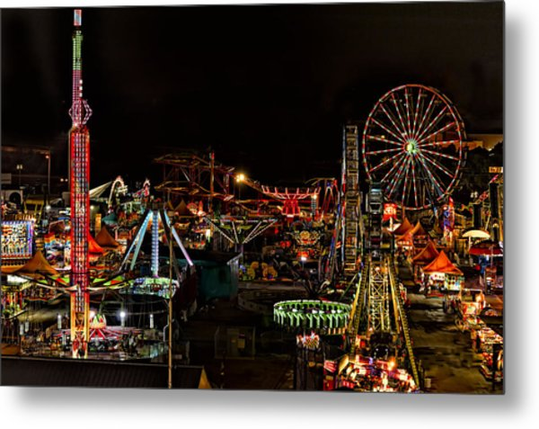 Metal Print featuring the photograph Carnival Midway by Linda Constant