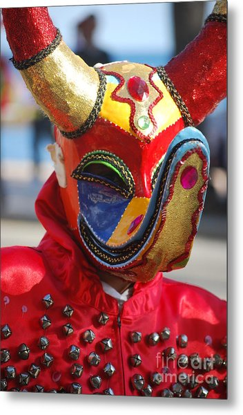 Carnival Red Duck Portrait Metal Print