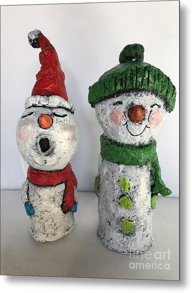 Caroling Snowmen Metal Print
