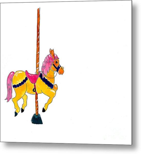 Carousel Pony Metal Print by Leah Wiedemer