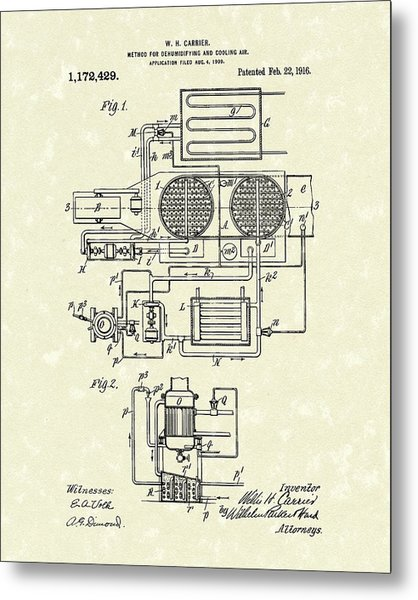 Metal Print featuring the drawing Carrier Air Conditioner 1916 Patent Art by Prior Art Design