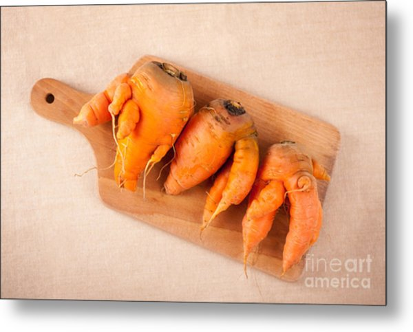 Carrot Roots With Forks Lying On Wooden Board  Metal Print