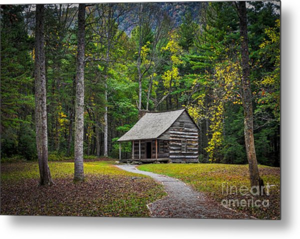 Carter Shields Cabin In Cades Cove Tn Great Smoky Mountains Landscape Metal Print