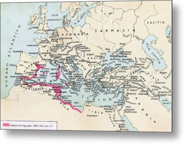 Carthaginian Colonies And Area Of Metal Print