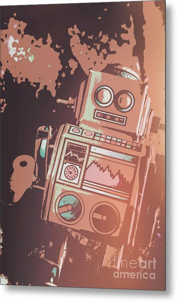 Cartoon Cyborg Robot Metal Print