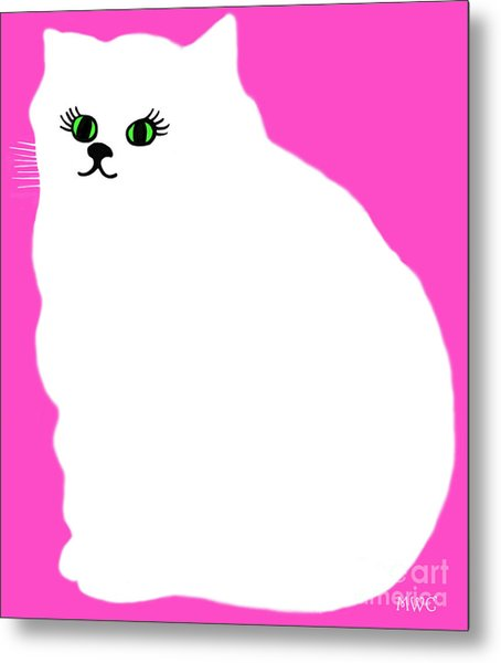 Cartoon Plump White Cat On Pink Metal Print