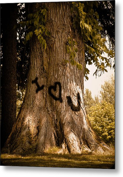 Carve I Love You In That Big White Oak Metal Print