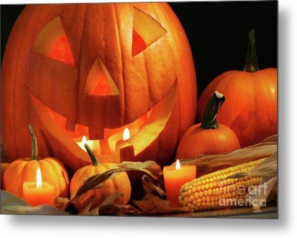 Carved Pumpkin With Candles Metal Print
