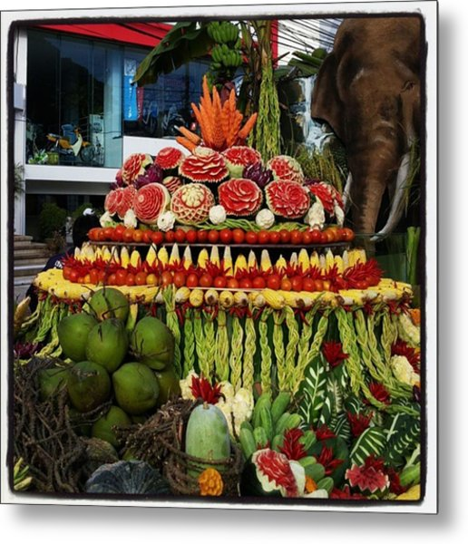 Metal Print featuring the photograph Carved Watermelon, Surin Elephant by Mr Photojimsf