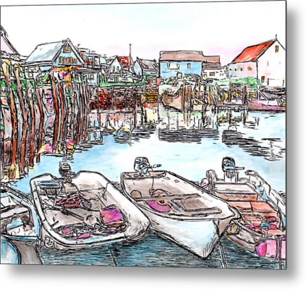 Carvers Harbour With Boats , Vinal Haven,  Maine Metal Print