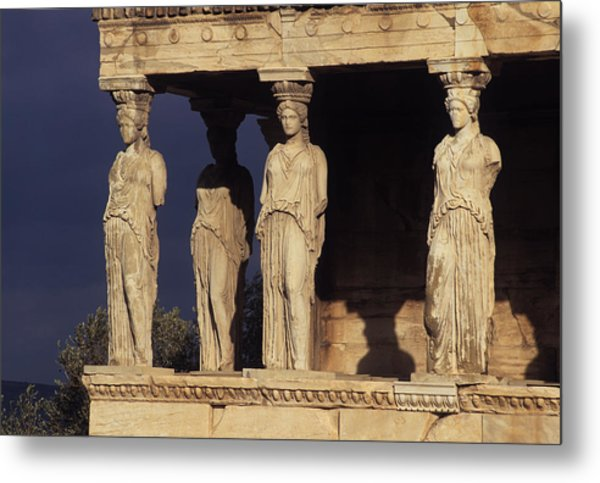 Caryatides At The Acropolis Metal Print