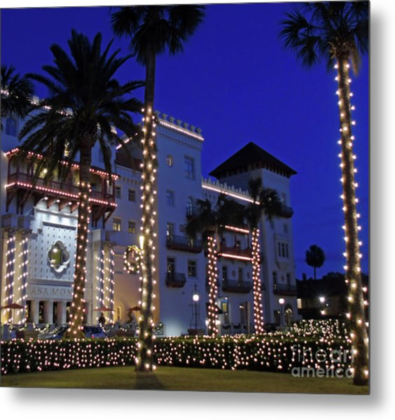 Casa Monica Inn Night Of Lights Metal Print