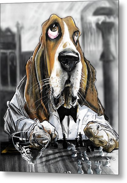 Casablanca Basset Hound Caricature Art Print Metal Print