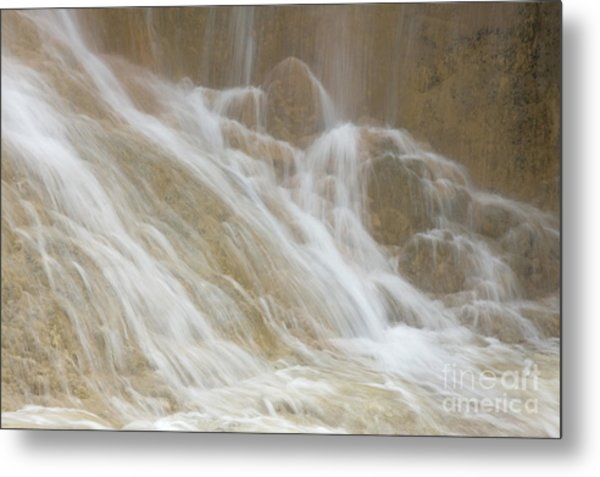 Cascade By The Limestone Pools In Huanglong Metal Print by Julia Hiebaum