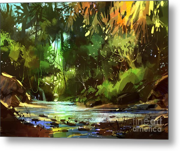 Cascades In Forest Metal Print