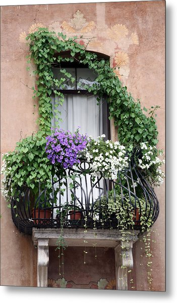 Cascading Floral Balcony Metal Print