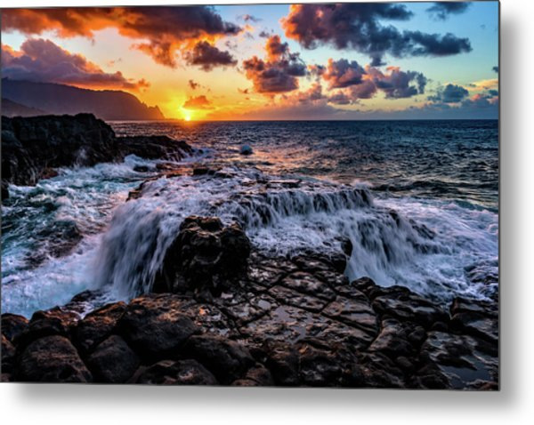 Cascading Water At Sunset Metal Print