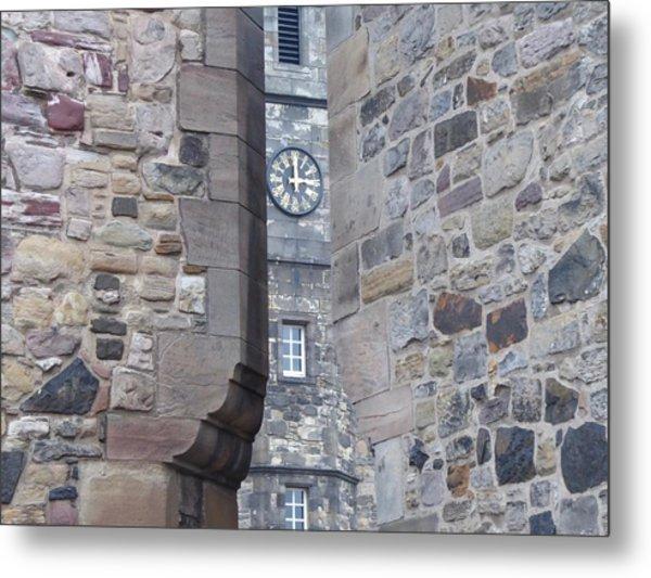 Castle Clock Through Walls Metal Print