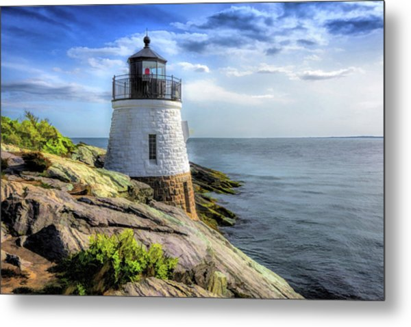 Metal Print featuring the painting Castle Hill Lighthouse by Christopher Arndt