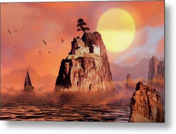 Castle On Seastack Metal Print