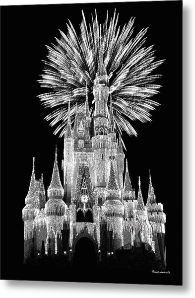 Castle With Fireworks In Black And White Walt Disney World Mp Metal Print