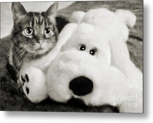 Cat And Dog In B W Metal Print
