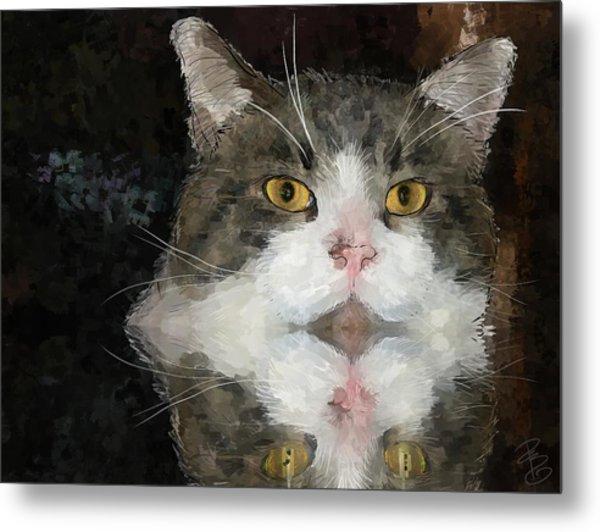 Cat At The Table Metal Print