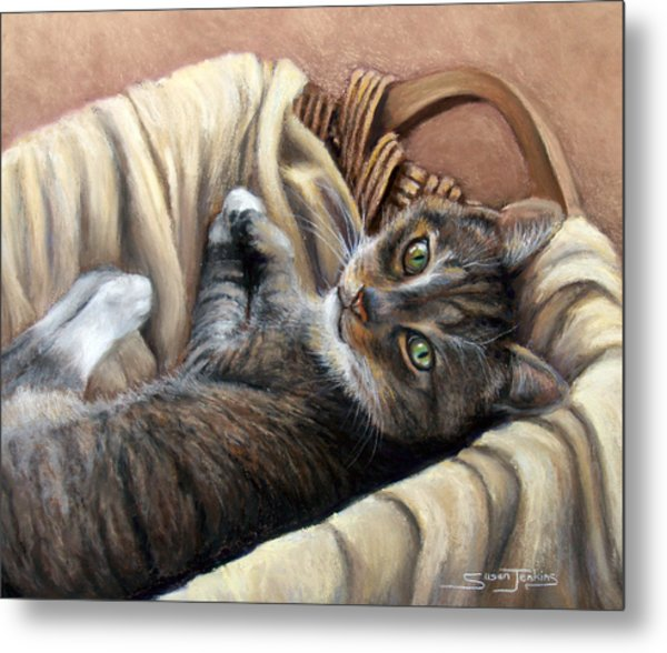 Cat In A Basket Metal Print