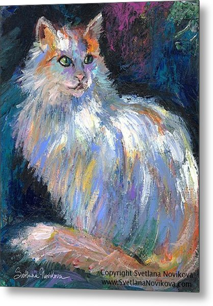 Cat In A Sun Painting By Svetlana Metal Print
