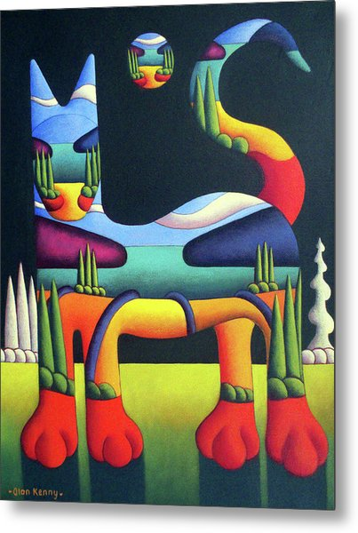 Cat In Landscape In Cat With White Trees  Metal Print by Alan Kenny