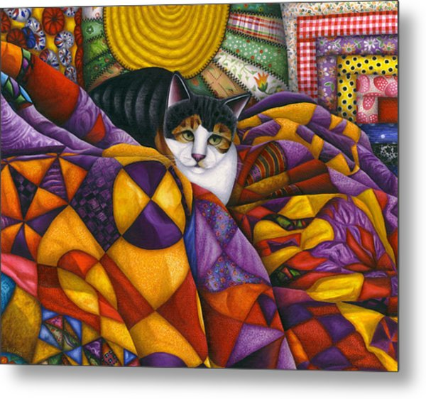 Cat In Quilts Metal Print