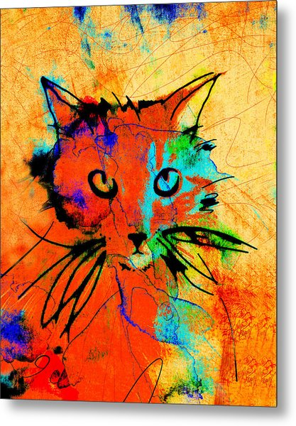 Cat In Red And Yellow Metal Print