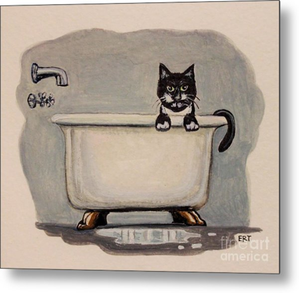 Cat In The Bathtub Metal Print