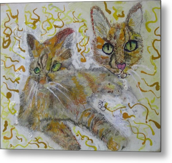 Metal Print featuring the painting Cat Named Phoenicia by AJ Brown