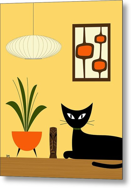 Cat On Tabletop With Mini Mod Pods 3 Metal Print