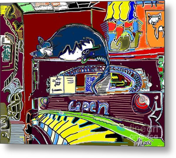 Cat On The Piano Metal Print by Michael OKeefe