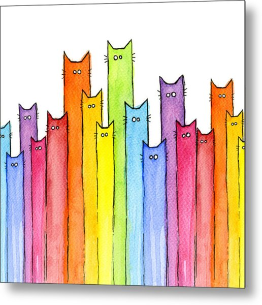 Cat Rainbow Watercolor Pattern Metal Print