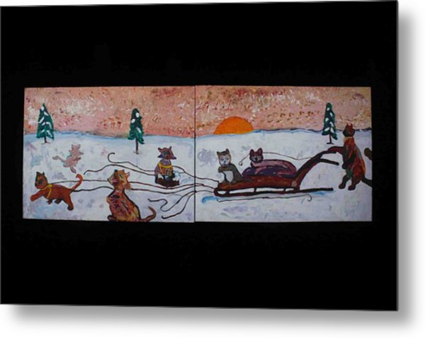 Metal Print featuring the painting Cat Sled Team by AJ Brown