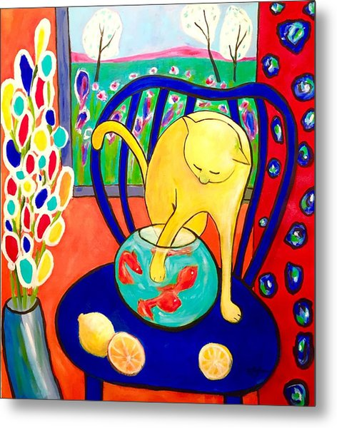 Metal Print featuring the painting Cat - Tribute To Matisse by Cristina Stefan