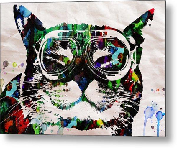 Cat Watercolor Rainbow Dreaming In Color Poster Print By Robert R Metal Print