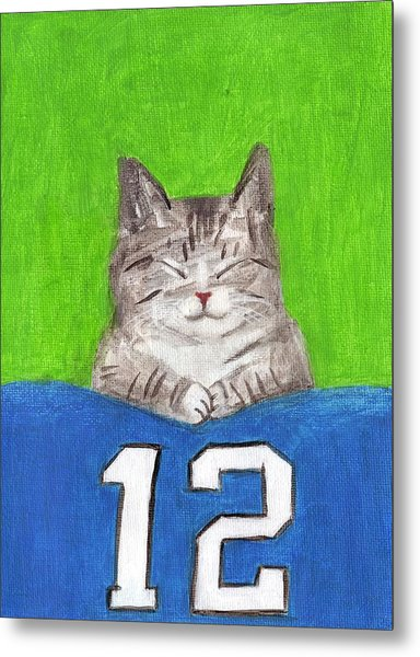 Cat With 12th Flag Metal Print