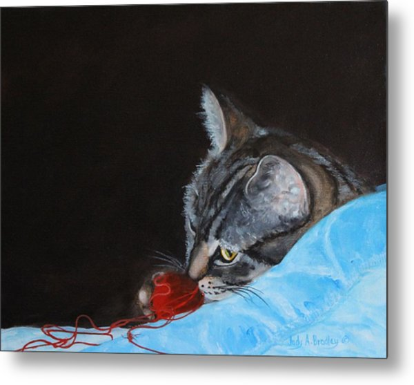 Cat With Red Yarn Metal Print