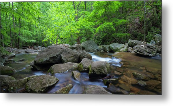 Metal Print featuring the photograph Catawba Stream And Rocks Panorama by Ranjay Mitra