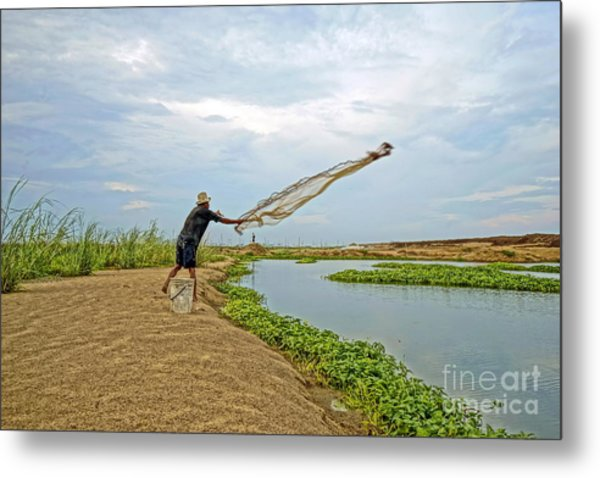 Catch Fish Metal Print by Arik S Mintorogo