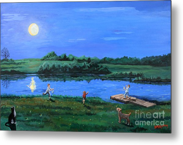 Catching Fireflies By Moonlight Metal Print