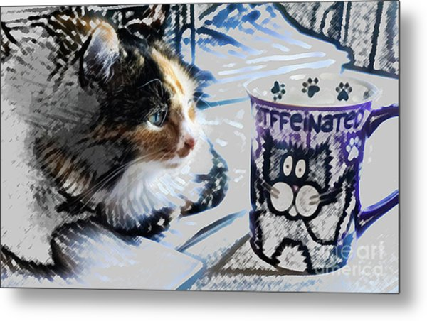 Catfinated Kitty Metal Print