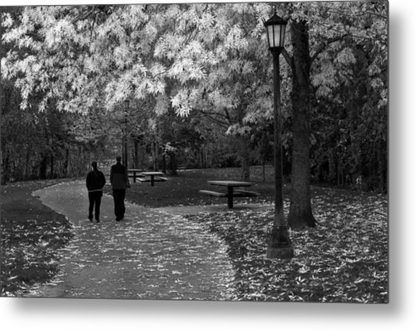 Cathedral Park In Fall Bw Metal Print