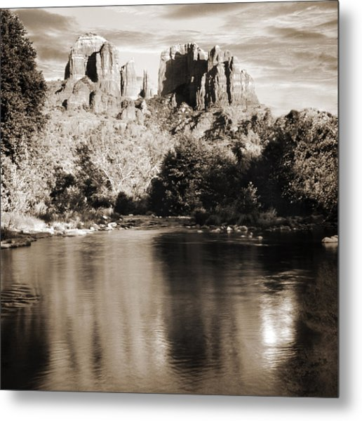 Cathedral Rock Reflection Metal Print by Bob Coates