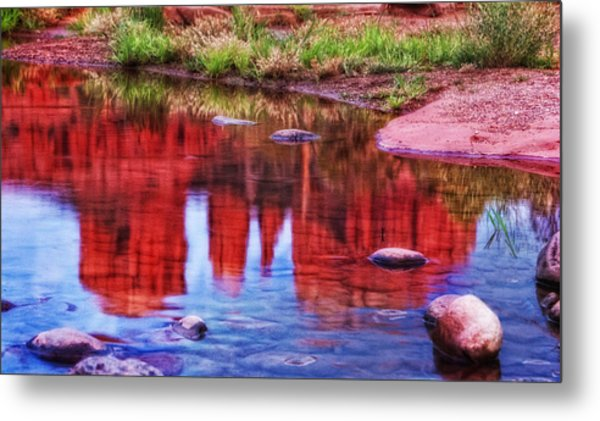Cathedral Rock Reflection Painterly Metal Print by Bob Coates