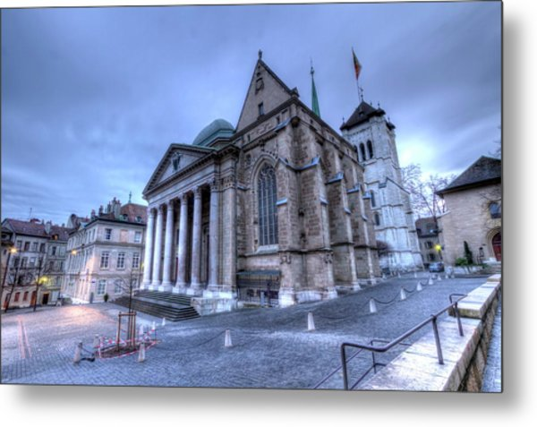 Cathedral Saint-pierre, Peter, In The Old City, Geneva, Switzerland, Hdr Metal Print